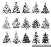 圣诞节豪华集合结构树 免版税库存照片