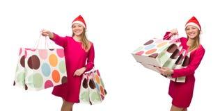 圣诞节购物概念的少妇 免版税库存照片