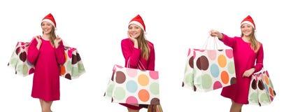 圣诞节购物概念的少妇 图库摄影