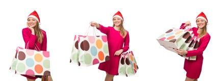 圣诞节购物概念的少妇 免版税库存图片