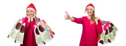 圣诞节购物概念的少妇 库存照片