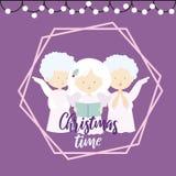 圣诞节贺卡的平的设计例证与唱在一紫色背景和圣诞节打过工的三个天使的颂歌 向量例证