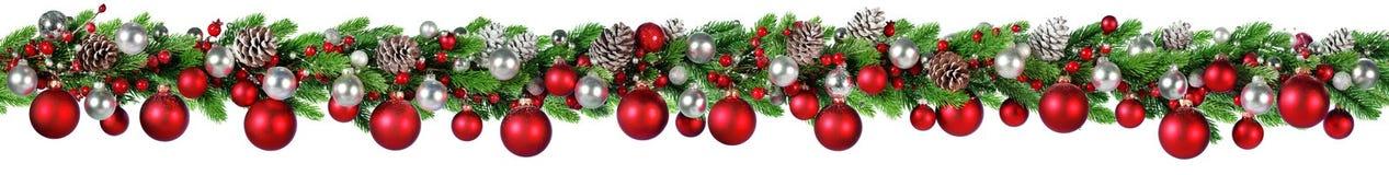 圣诞节边界-红色和银色球垂悬 免版税库存照片