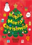 圣诞节逗人喜爱的字符和设计元素集 皇族释放例证