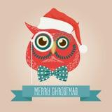 圣诞节逗人喜爱的森林猫头鹰鸟头商标 导航在衣裳的现代时兴的行家猫头鹰鸟动物 免版税库存图片