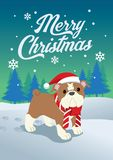 圣诞节逗人喜爱的牛头犬  皇族释放例证
