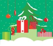 圣诞节逗人喜爱的礼品 库存例证