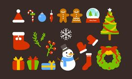 圣诞节逗人喜爱的装饰集合2018冬天 皇族释放例证