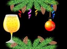 圣诞节邮政与杯香槟和欢乐装饰 库存图片