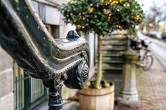 圣诞节都市风景-用栏杆围的门廊的看法在阿姆斯特丹的老区  图库摄影