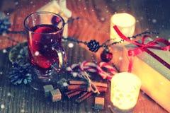 圣诞节酒桔子桂香 免版税库存图片
