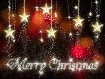 圣诞节金子与星形结婚 免版税库存图片
