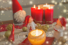 圣诞节金子和红色poscard 图库摄影