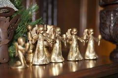 圣诞节金子天使 免版税库存图片