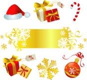 圣诞节金子红色集 免版税库存图片