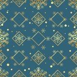 圣诞节金雪花无缝的样式 在蓝色菱形背景的金黄雪花 冬天雪纹理墙纸 标志hol 库存例证