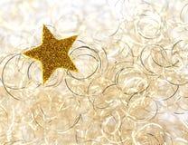 圣诞节金黄星形 免版税图库摄影