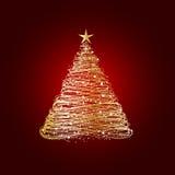 圣诞节金黄结构树 免版税图库摄影
