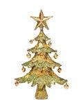 圣诞节金黄结构树 库存照片