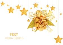 圣诞节金黄装饰品星形结构树 免版税库存照片