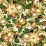 圣诞节金黄无缝的背景。 免版税库存图片