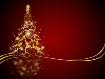 圣诞节金黄现代结构树 库存例证