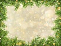 圣诞节金bokeh有树枝框架背景 10 eps 向量例证