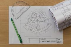圣诞节铃声图纸 图库摄影
