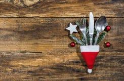 圣诞节银器桌餐位餐具 免版税库存图片