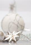 圣诞节银色星形白色 图库摄影
