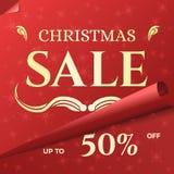 圣诞节销售与打旋的红色纸的横幅模板 库存图片