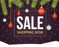 圣诞节销售与闪烁球丝带和装饰的横幅模板 新年树枝背景 皇族释放例证