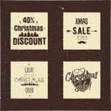 圣诞节销售和折扣与树和圣诞老人的印刷术卡片 Xmas季节提供在象征上写字 在网上假日 皇族释放例证