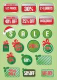 圣诞节销售和折扣标签和标记 免版税库存图片