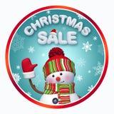 圣诞节销售回合与3d雪人的横幅 免版税库存照片