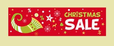 圣诞节销售图象的横幅与聚宝盆 库存图片