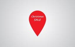 圣诞节销售地图标志 传染媒介圣诞节销售地图点标志 另外的横幅是能被更改的格式销售额 免版税库存照片