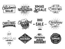 圣诞节销售字法和xmas书法集合 印刷术元素汇集 假日网络购物类型行情 向量例证