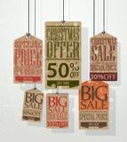 圣诞节销售标记。葡萄酒样式标记和标签 免版税库存照片