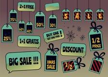 圣诞节销售标记和标签 免版税库存图片