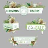 圣诞节销售横幅、标签和标记 免版税图库摄影