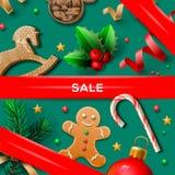 圣诞节销售海报 免版税库存图片