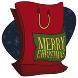 圣诞节销售的红色购物带来和招呼丝带晒干,导航例证 库存例证