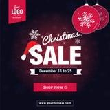 圣诞节销售社会媒介准备横幅 图库摄影