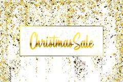 圣诞节销售金子闪烁在白色背景的五彩纸屑纹理 金黄圣诞节横幅 金粒状尘土摘要 皇族释放例证