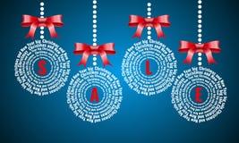 圣诞节销售,圣诞节球词云彩,在拼贴画上写字的假日 免版税库存照片