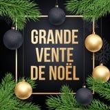 圣诞节销售French Vente de Noel折扣电视节目预告海报 免版税库存照片