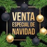 圣诞节销售Spanish文塔de Navidad折扣电视节目预告海报 库存图片
