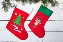 圣诞节长袜和杉木分支 库存照片