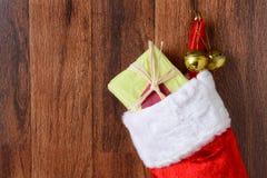 圣诞节长袜特写镜头 免版税库存图片